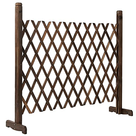 Freestanding Expandable Wood Trellis Fence, Outdoor Garden Screen, 34 Inch