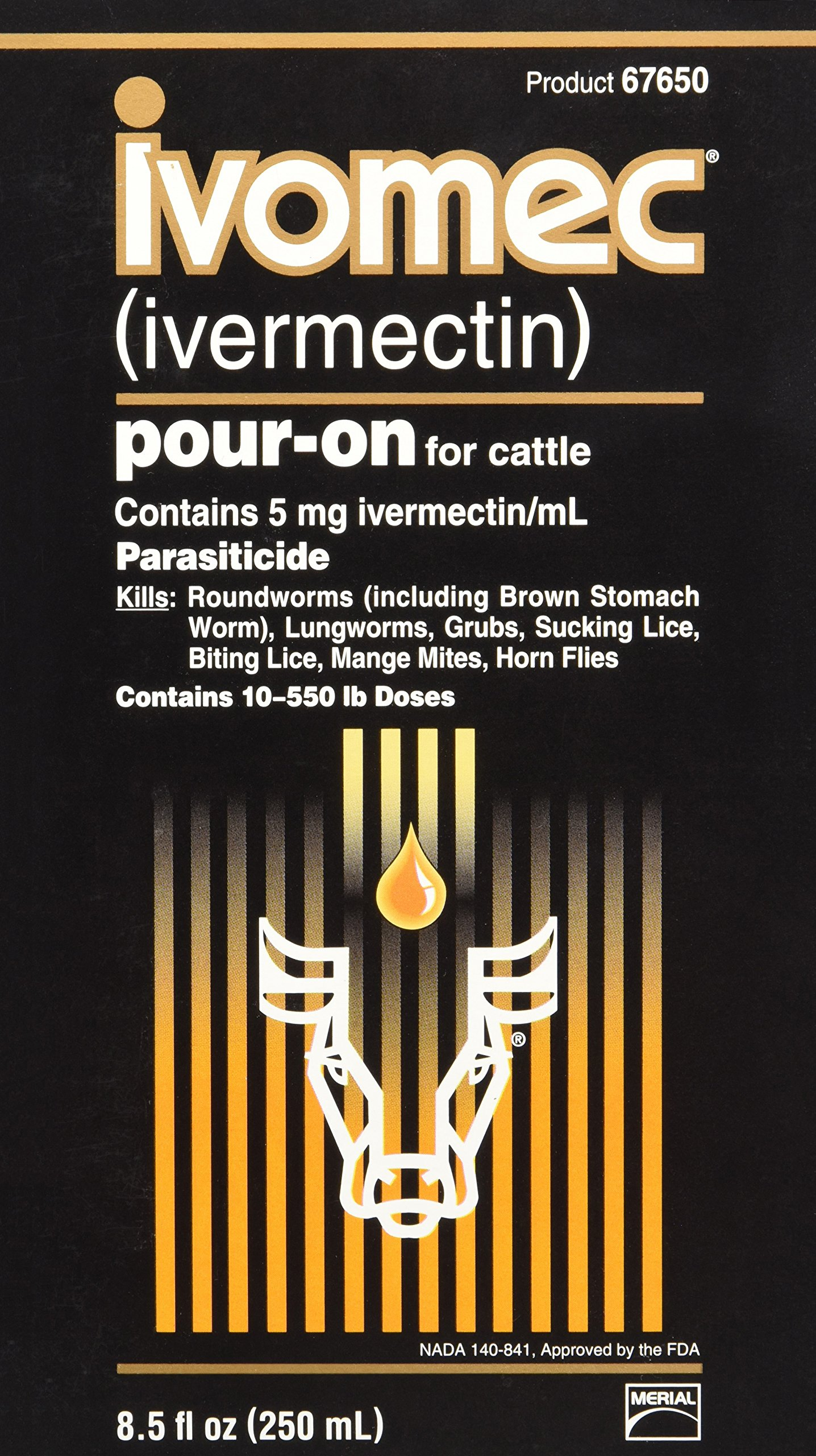 Merial 047894 Ivomec Parasiticide Pour-on for Cattle, 250Ml by Merial