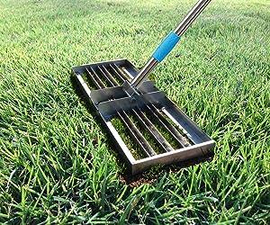 FLY HAWK Lawn Leveling rake, Garden Finishing Stainless Steel Flat Sand Crusher (6.5 FT)