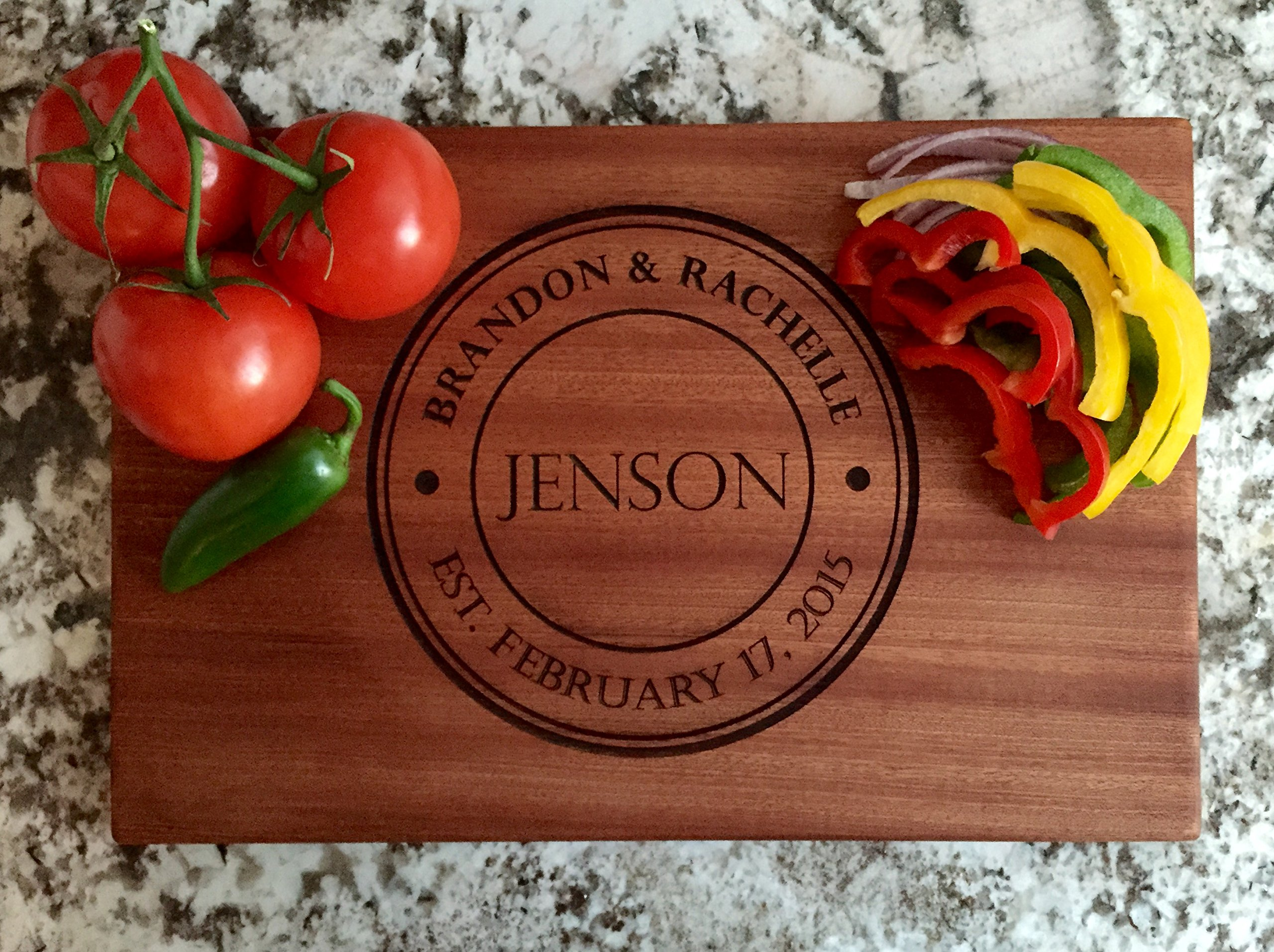 Personalized Gifts Couples Cutting Board - Wood Cutting Boards Bridal Shower, Housewarming, and Wedding Gifts (10 x 15 Mahogany Rectangular, Jenson Design)