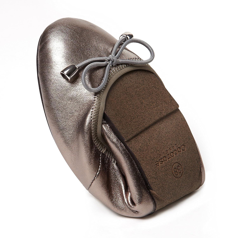 Sandringham Ladies Leather Ballet Pumps Cocorose Foldable Shoes