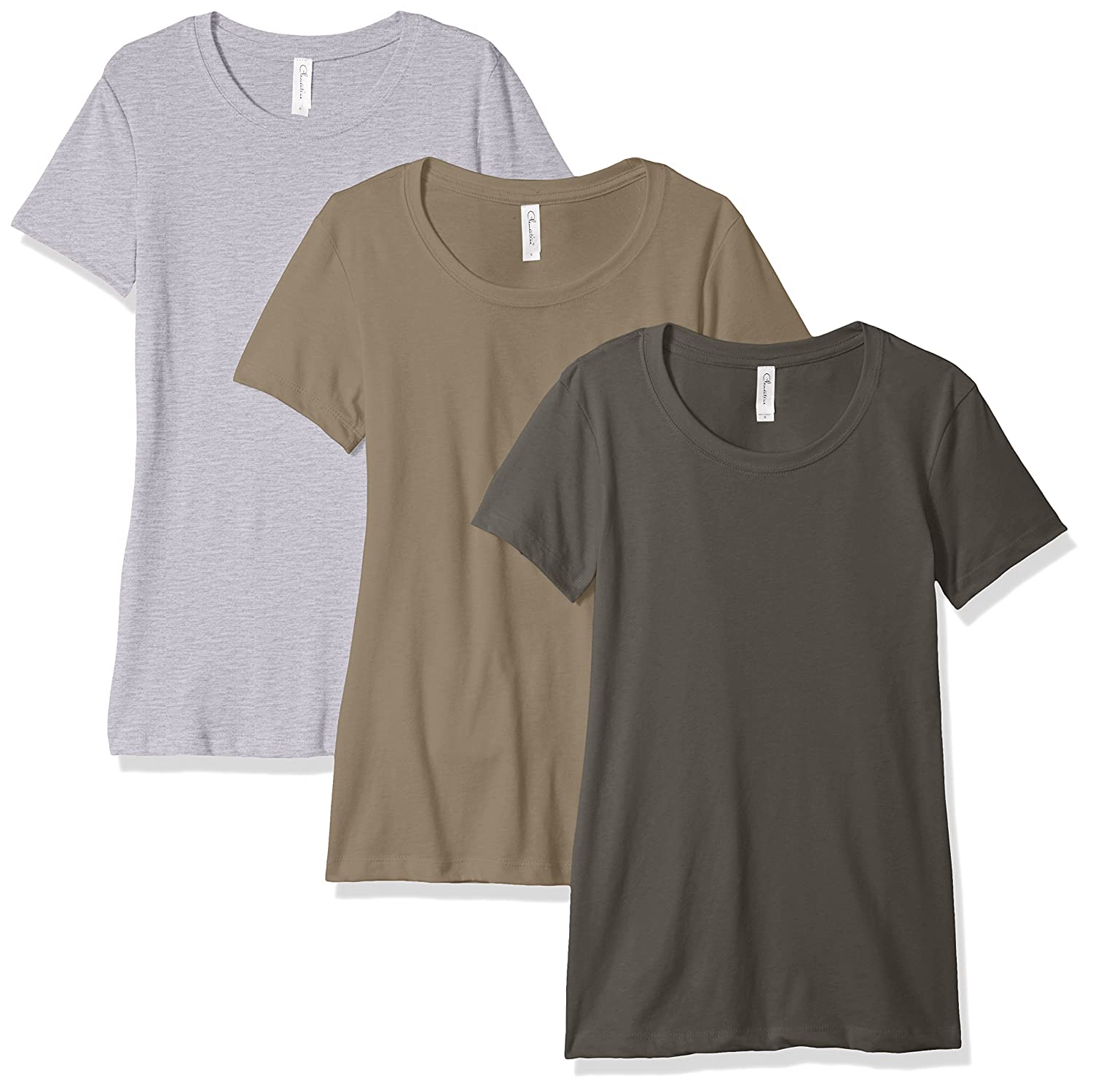 Pack of 3 Clementine Apparel Womens Petite Plus Ideal Crew-Neck T-Shirts