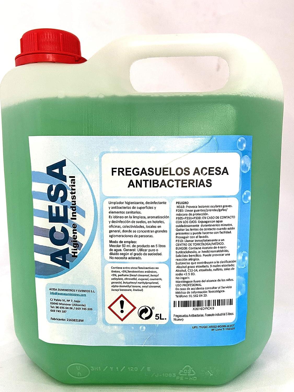 Fregasuelos Antibacterias Concentrado de uso Profesional Desinfectante y Bactericida de uso Profesional y Doméstico para Todo tipo de superficies. Con aroma. ACESA Formato industrial 5 litros.