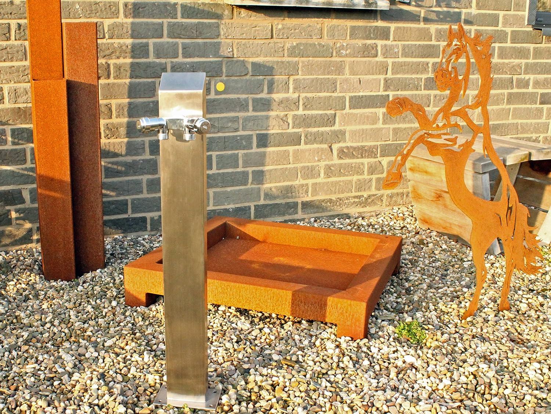 Wassersäule Zapfsäule Bewässerung Gartenschlauch Wasserspender Zapfstelle Edelstahl V2A