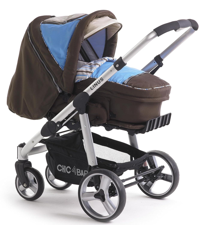 CHIC 4 BABY Kinderwagen LINUS 150 41 - Carrito 3 en 1, reversible, de aluminio ligero, color marrón y azul: Amazon.es: Bebé