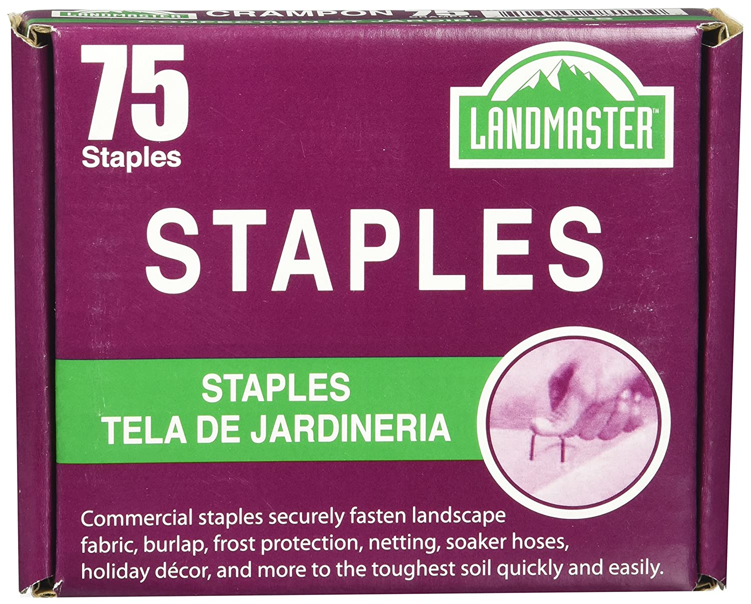 Easy Gardener 815 038398008155 Fabric & Garden Staples Attaches Landscape Fabric and Turf to Soil (4, 75, Silver