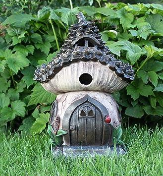 Solar Garden Decor Large Fairy House Pixie Pine Cone Outdoor