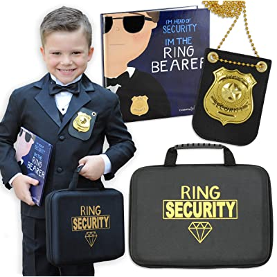 Tickle & Main - Ring Bearer Gift Set – Includes Book, Badge, and Wedding Ring Security Briefcase. I'm Head of Security - I'm The Ring Bearer!: Toys & Games