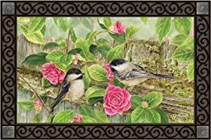 Studio M MatMates Garden Chickadees Decorative Floor Mat Indoor or Outdoor Doormat with Eco-Friendly Recycled Rubber Backing, 18 x 30 Inches