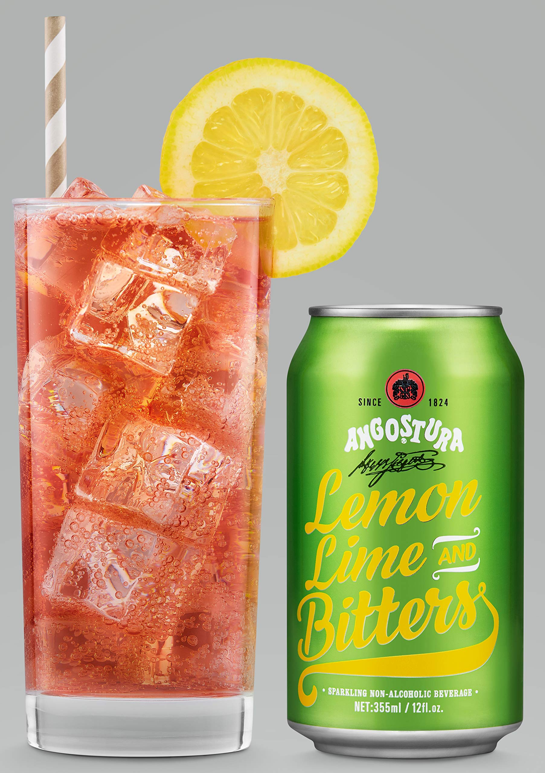 Angostura Lemon, Lime & Bitters, Non-Alcoholic Soda Cocktail Mixer, 12 fl oz Cans, 24 Pack
