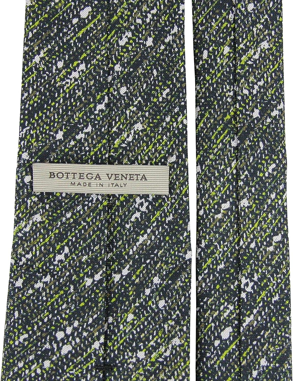 Bottega Veneta Splatter Pattern Mens Green//White//Brown Cotton Silk Striped Tie 376672 2067