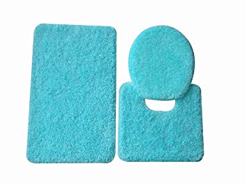 5th Avenue 3 Piece Bathroom Rug Set - Bath Mat, Contour, Cover (Turquoise