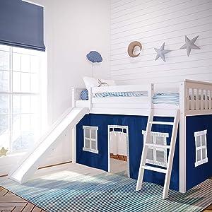 Max & Lily 180213-002-022 Loft, Twin, White, Blue Curtain