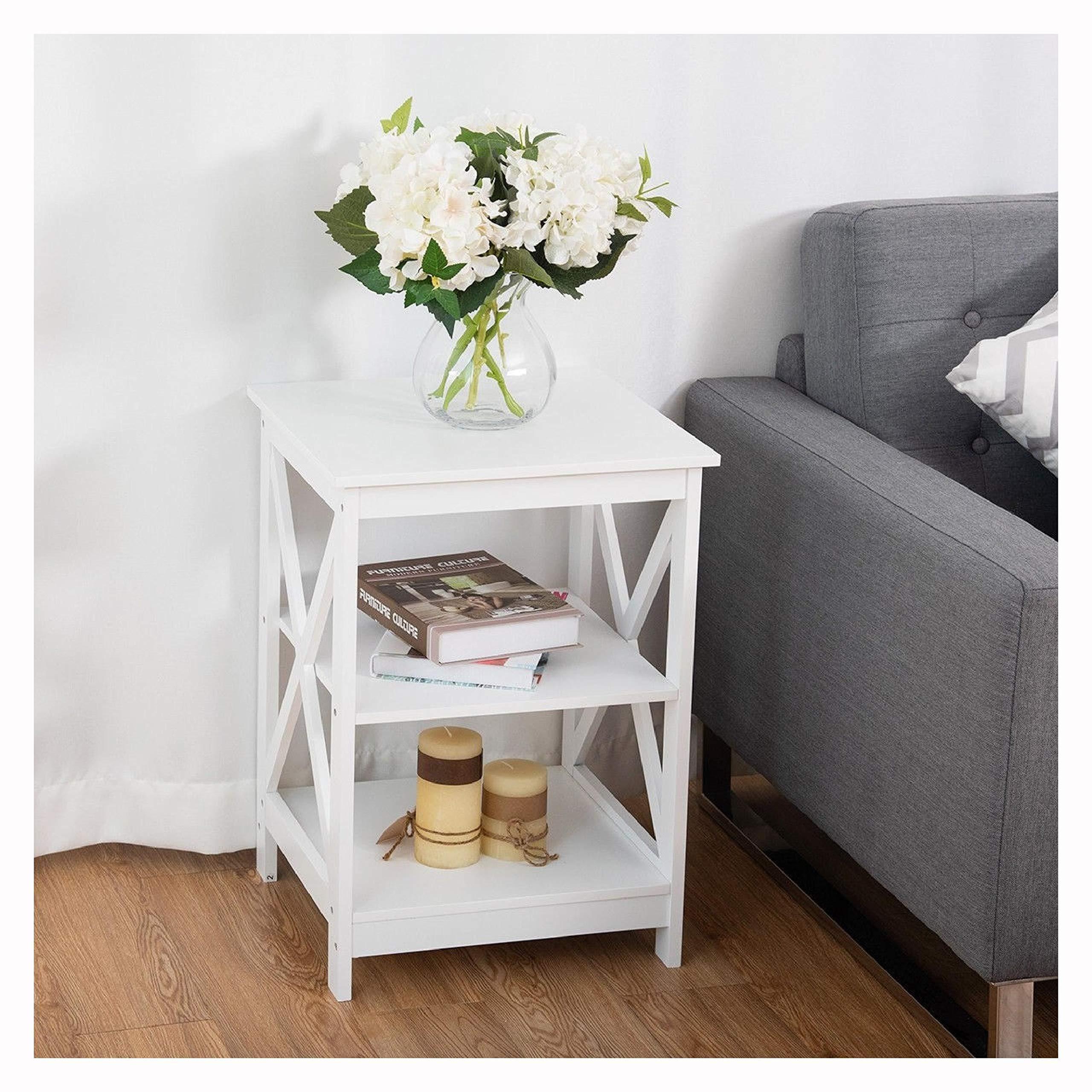 End Table, 3-Tier Living Room Display Storage Shelf Nightstand, White
