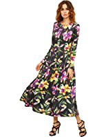 Floerns Women's Long Sleeve Flower Floral Pleated Party Cocktail Maxi Dress