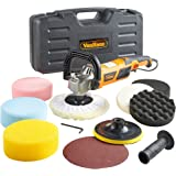 VonHaus 1200w Polisher Sander Machine Kit Sponges Orbit Buffer Pads Paper 8 Accessory Kit – 600-3000 RPM Variable Speed – Auxiliary D Handle – Car, Boat, Motorbike