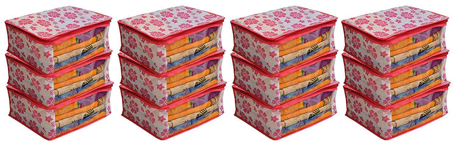 Kuber Industries 24 Piece Non Woven Saree Cover Set, Pink (NEWS15_3)