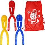 Joyin Toy Snowball Maker Snow Toys for Kids Red Yellow & Blue with Bonus Tote Bag - 3 Pack