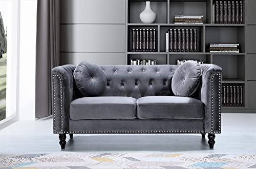 Container Furniture Direct Kittleson Mid Century Velvet Upholstered Nailhead Chesterfield Loveseat