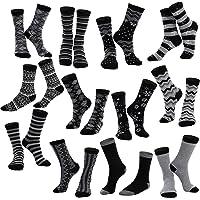 12 Pack Women's Socks Monochrome Zigzag & Stripes Patterned Crew Socks for Christmas, Holiday or Birthday Gift