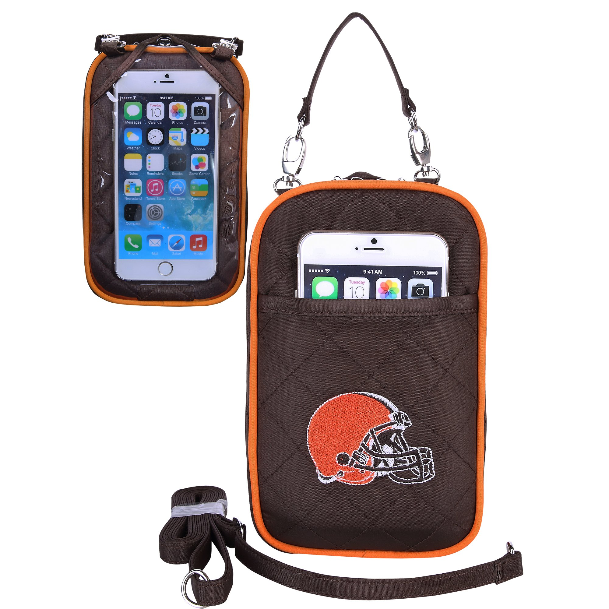 Charm14 NFL Cleveland Browns Women's Crossbody Bag Quilt-Embroidered Logo-Fits All Phones by Little Earth