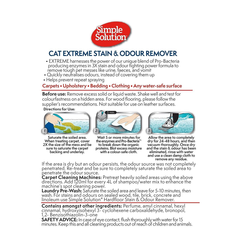 Simple Solution Extreme - Removedor de Manchas y olores para gatos, 500 ml