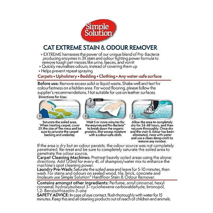 Simple Solution Extreme - Removedor de Manchas y olores para gatos, 500 ml: Amazon.es: Productos para mascotas