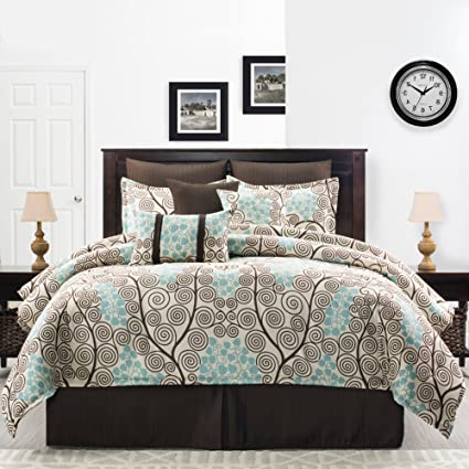 . Amazon com  3 Piece Earthy Floral Vines Pattern Comforter Set Twin