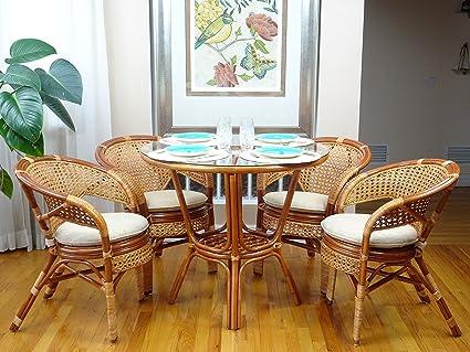 Amazon.com: 5 Pc Pelangi Rattan Wicker Dining Set Round Table Glass ...