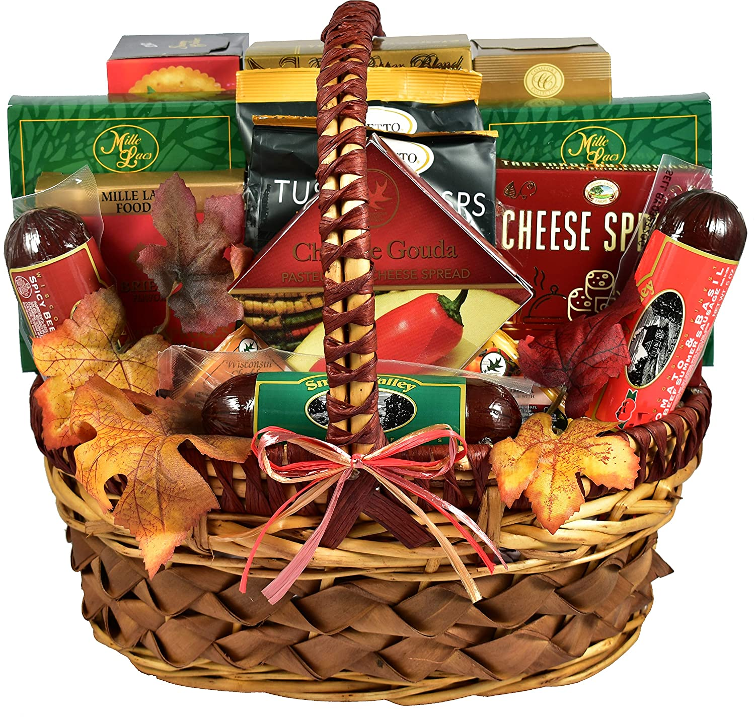 Gift Basket Village - A Cut Above, Fall Cheese and Sausage Gift Basket Loaded With Flavors of the Season (Medium, 7 pound)
