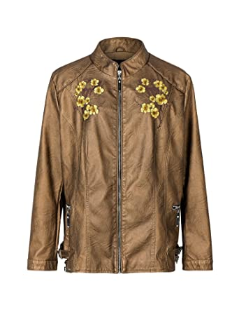 Bellivera Womens Long Sleeves Faux Leather Embroidery Floral Zipper Jacket