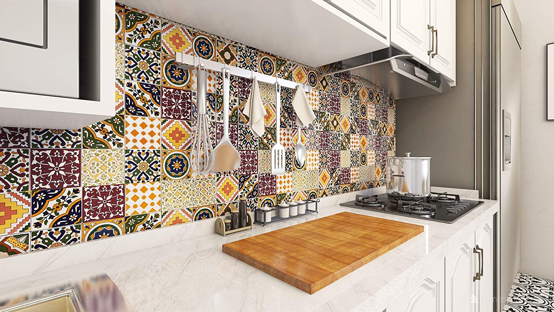 50 baldosas decorativas tunecinas orientales de 10 x 10 cm para el ba/ño la cocina baldosas de cer/ámica marroqu/í Maraj debajo de las escaleras Azulejos decorativos de colores. Cerames