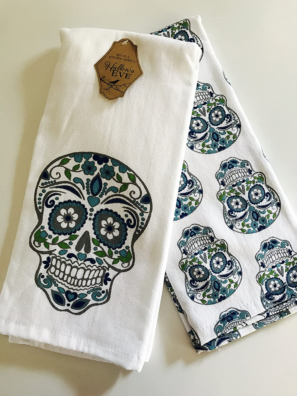 Amazon.com: Hallow\'s Eve Sugar Skull Kitchen Towels - Set of 2 ...