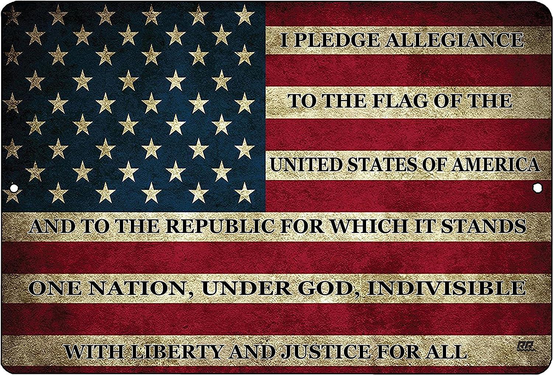 Rogue River Tactical - Placa Decorativa de Metal con la Bandera Estadounidense de Estados Unidos para Hombre, diseño con Texto en inglés Man Cave Bar, US Pledge of Allegiance: Amazon.es: Hogar