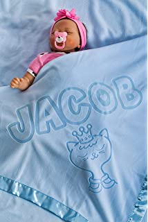 Manta para beb/é personalizada con nombre y fecha de nacimiento Regalo para el reci/én nacido tama/ño 88x88CMCM Azul