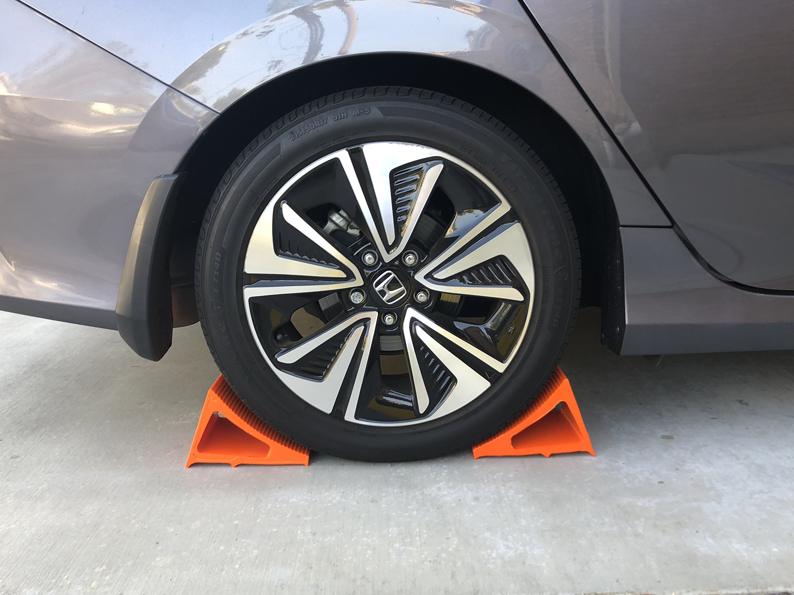 Elasco Wheel Chock, Weatherproof, Outdoor Grade, Polyurethane better than Rubber or Plastic, Keeps Your Trailer or RV In Place, 5 Year Warranty (2 Pack, Orange) by Elasco Products (Image #7)