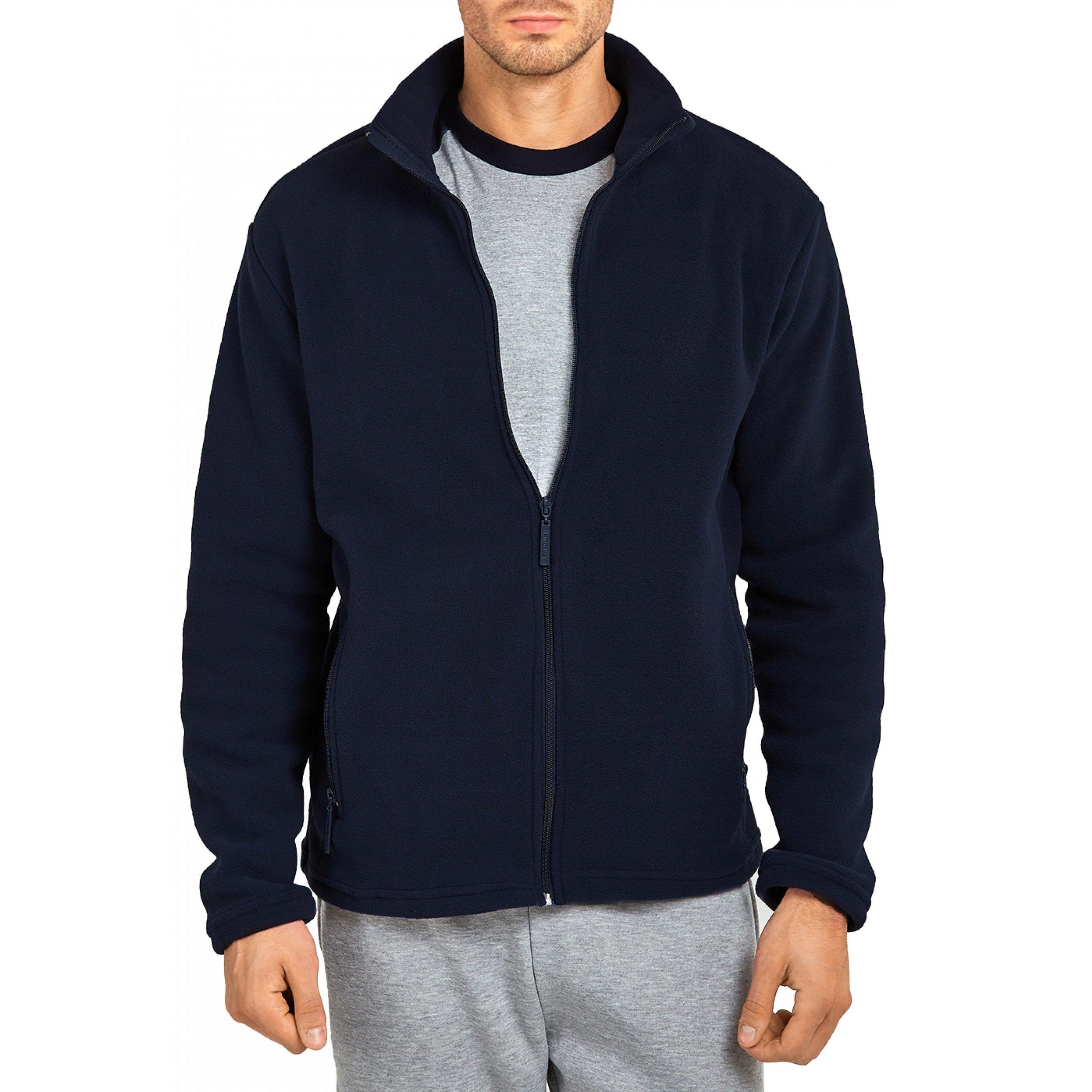 Mechaly Men Classic Full Zip Long Sleeve Polyester Polar Fleece Jacket (Navy, Large)