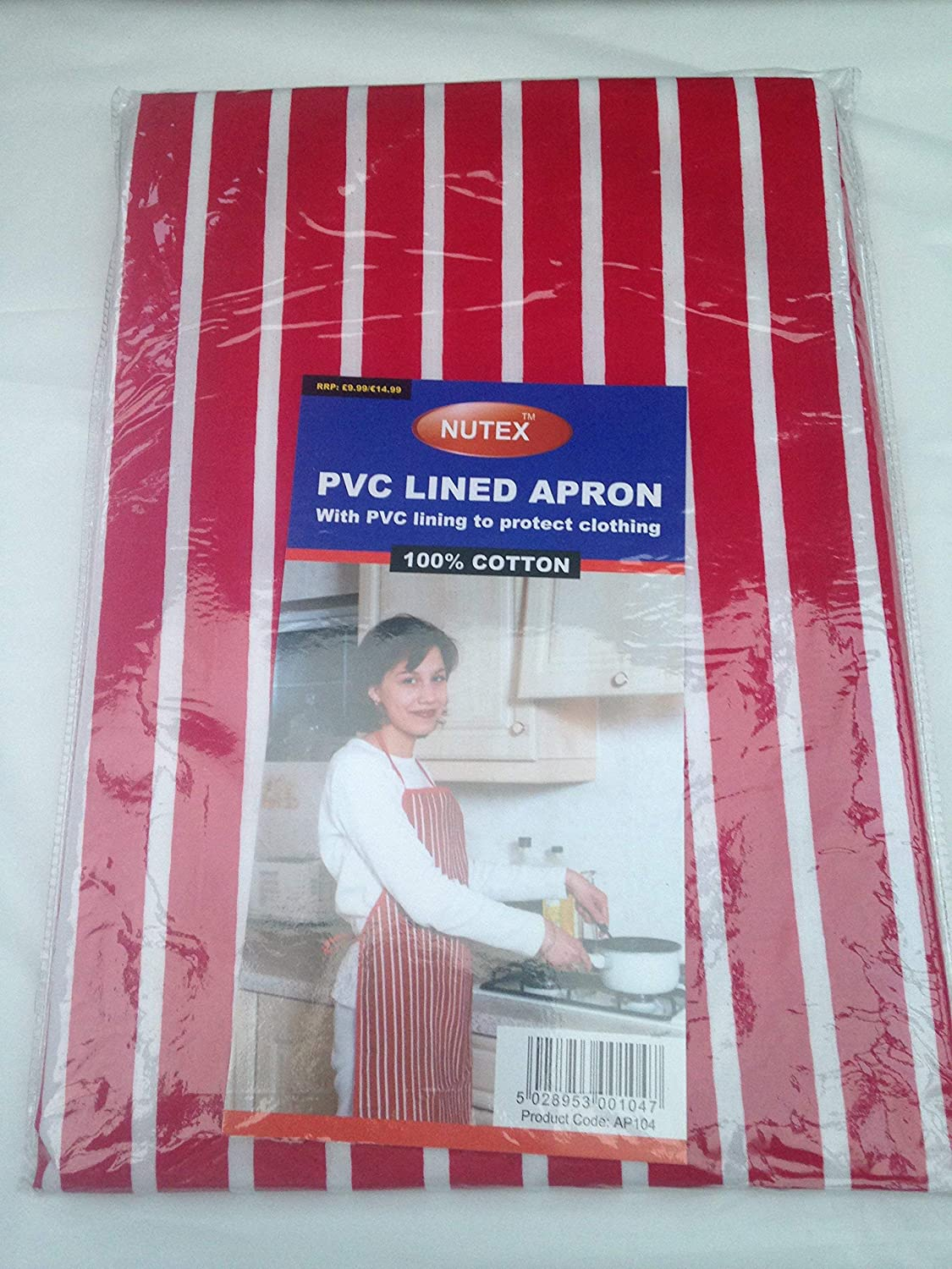 1 x red chef apron pvc lined 100% cotton apron for cooking bbq chef etc free delivery