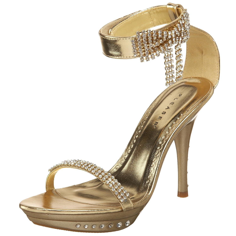 Pleaser Women's Monet-26 Ankle Wrap Sandal B0024LSW12 6 B(M) US Gold Metallic Pu