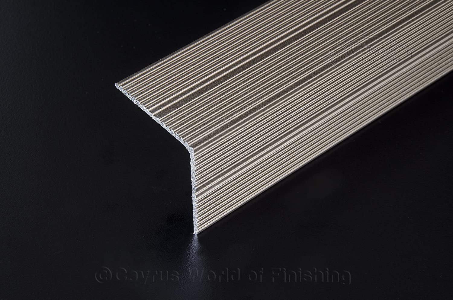 SELF ADHESIVE ALUMINIUM ANTI NON SLIP STAIR EDGE NOSING -EDGING TRIM- 35 x 35mm A34 (Anodised Silver) cayrus