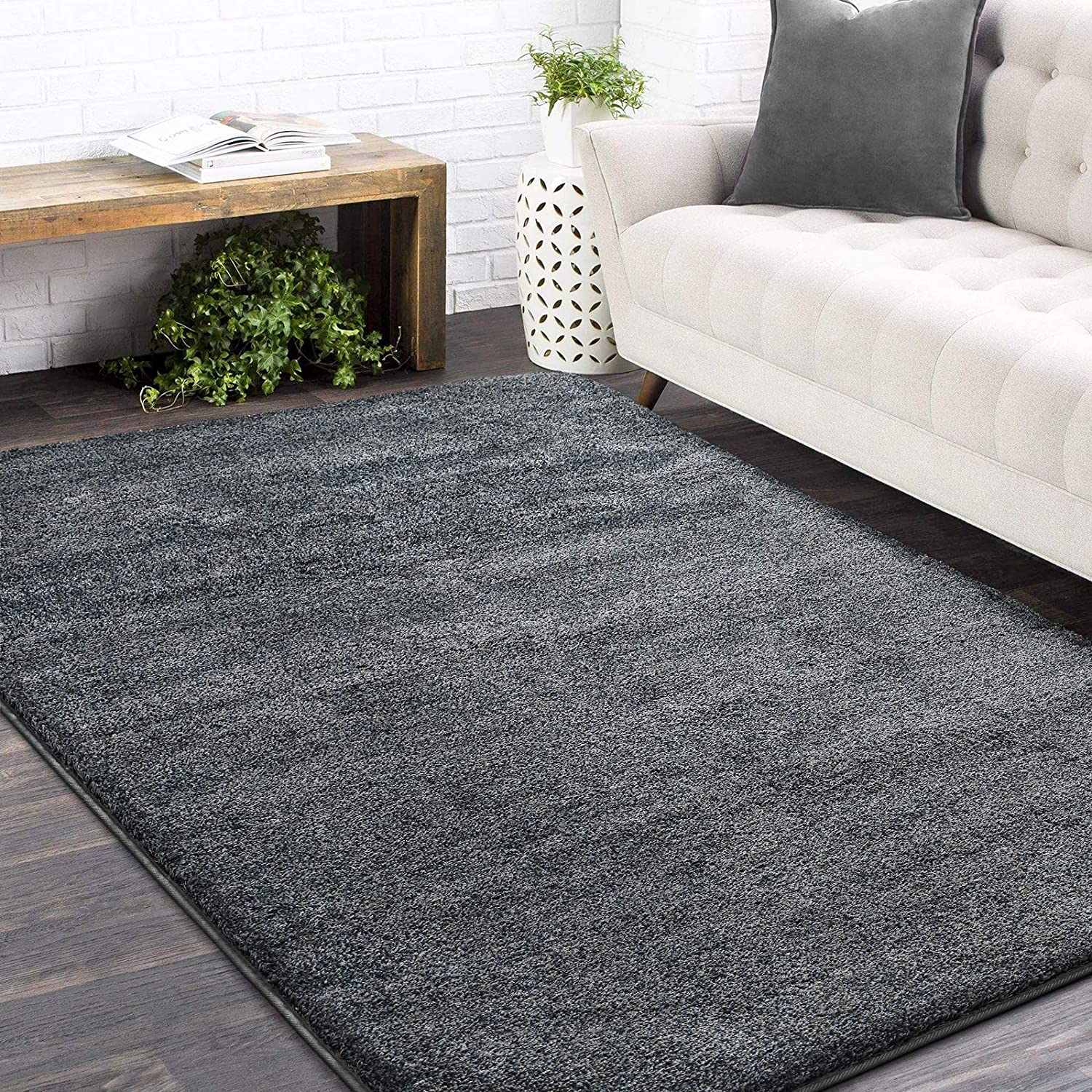 Color&Geometry Area Rugs, 5 x 7 Feet Cozy Comfy Machine Washable Non-Slip Home Decor Floor Rug Carpet for Bedroom, Kids Room, Baby Room, Girls Room, and Office, Grey
