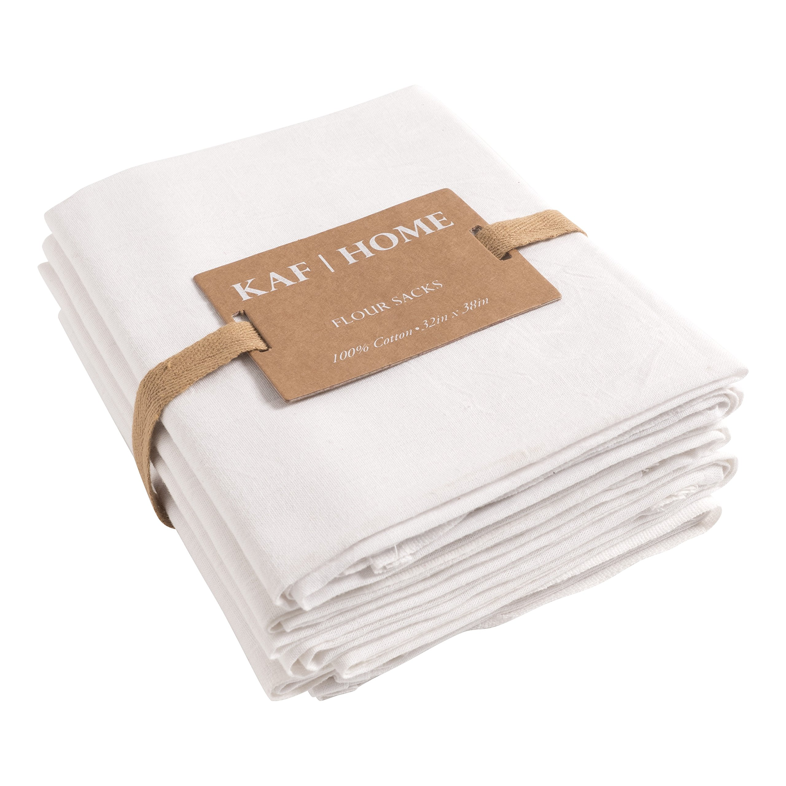 KAF Home Flour Sack Kitchen Towels, White, Set of 4, 100% Cotton