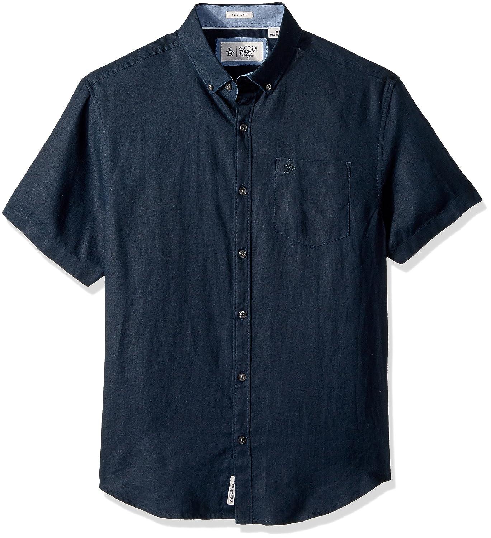 Original Penguin Mens Short Sleeve Washed Linen Shirt