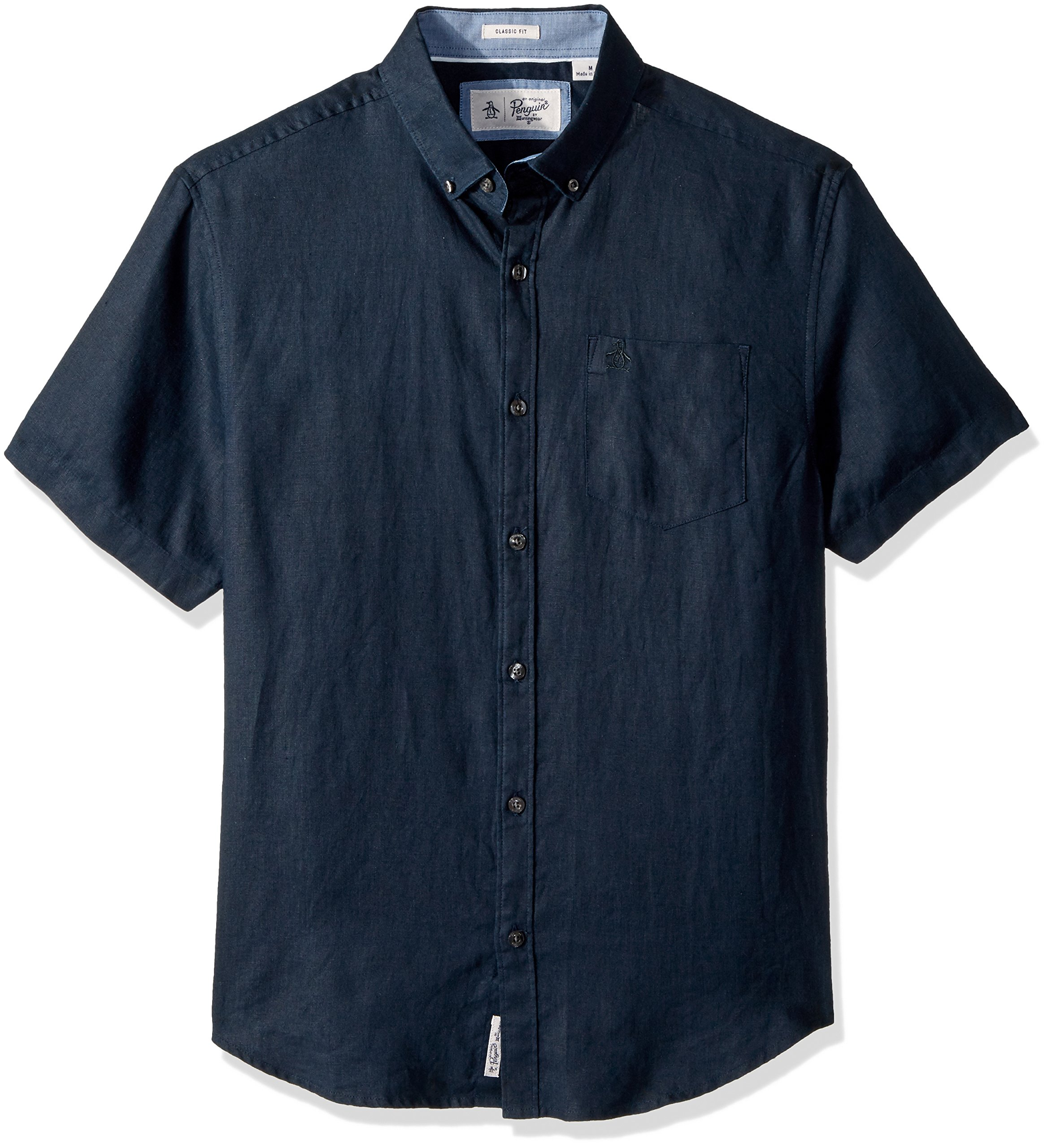 Original Penguin Men's Short Sleeve Washed Linen Shirt, Dark Sapphire, Extra Large