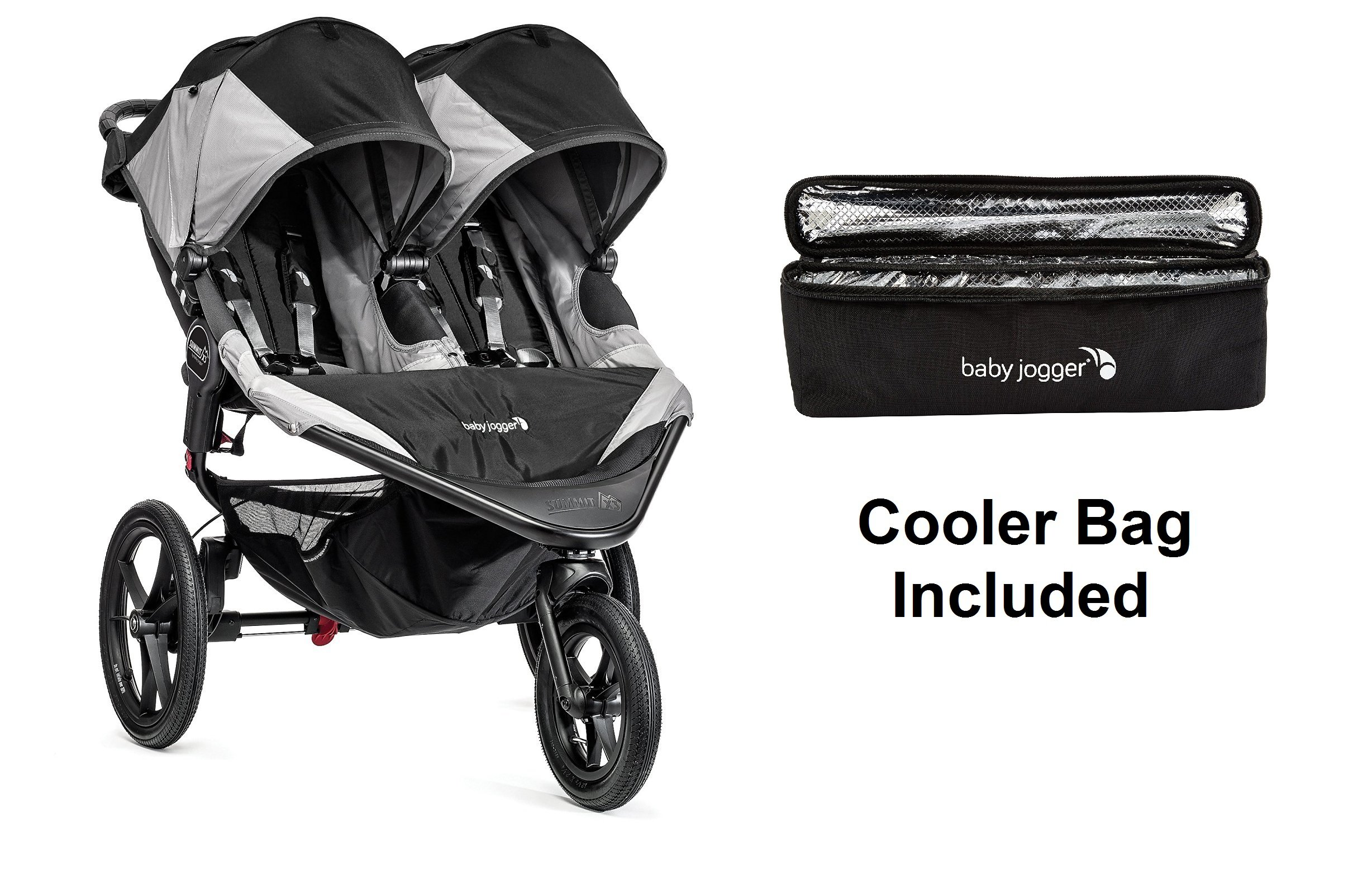 Baby Jogger 2016 Summit X3 Double - Black/Gray with Cooler Bag