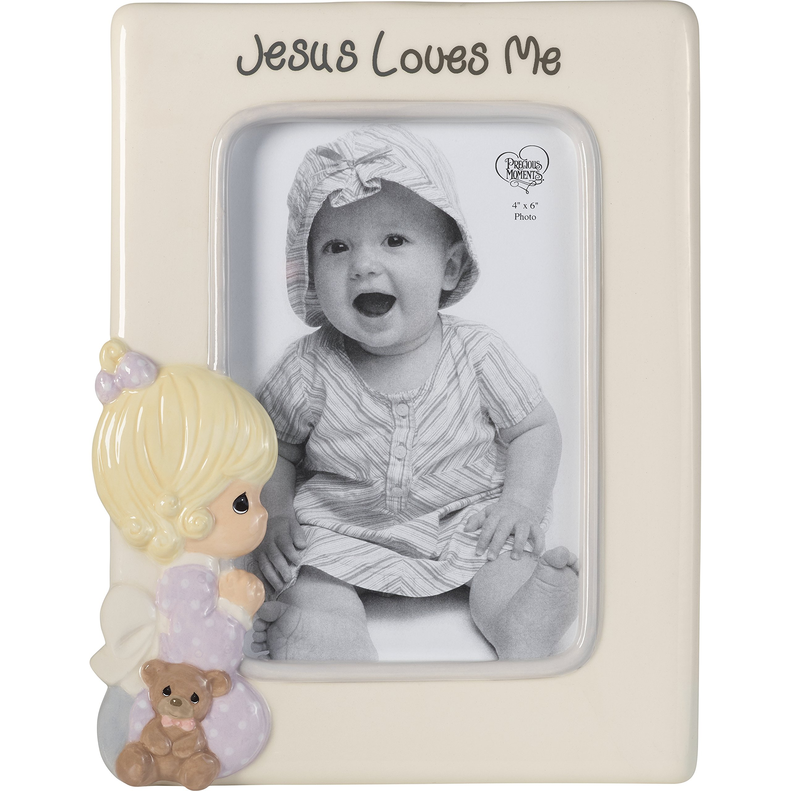 Precious Moments Praying Girl Jesus Loves Me Ceramic 4x6 Photo Frame 185033, One Size, Multicolor