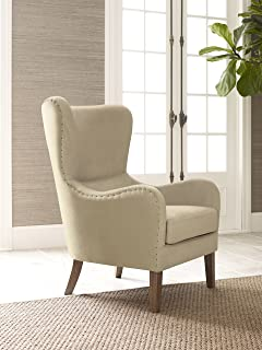 Elle Decor UPH100085C Modern Farmhouse Accent Chair Two Toned Tan