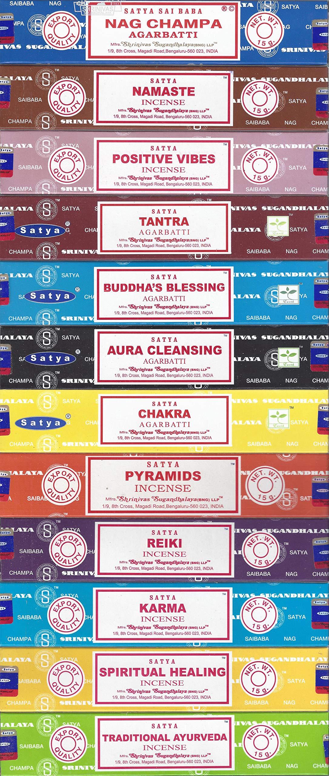 Set of 12 Nag Champa Namaste Positive Vibes Tantra Buddha Blessing Aura Cleansing Chakra Pyramids Reiki Karma Spiritual Healing Traditional Ayurveda by Satya by Satya