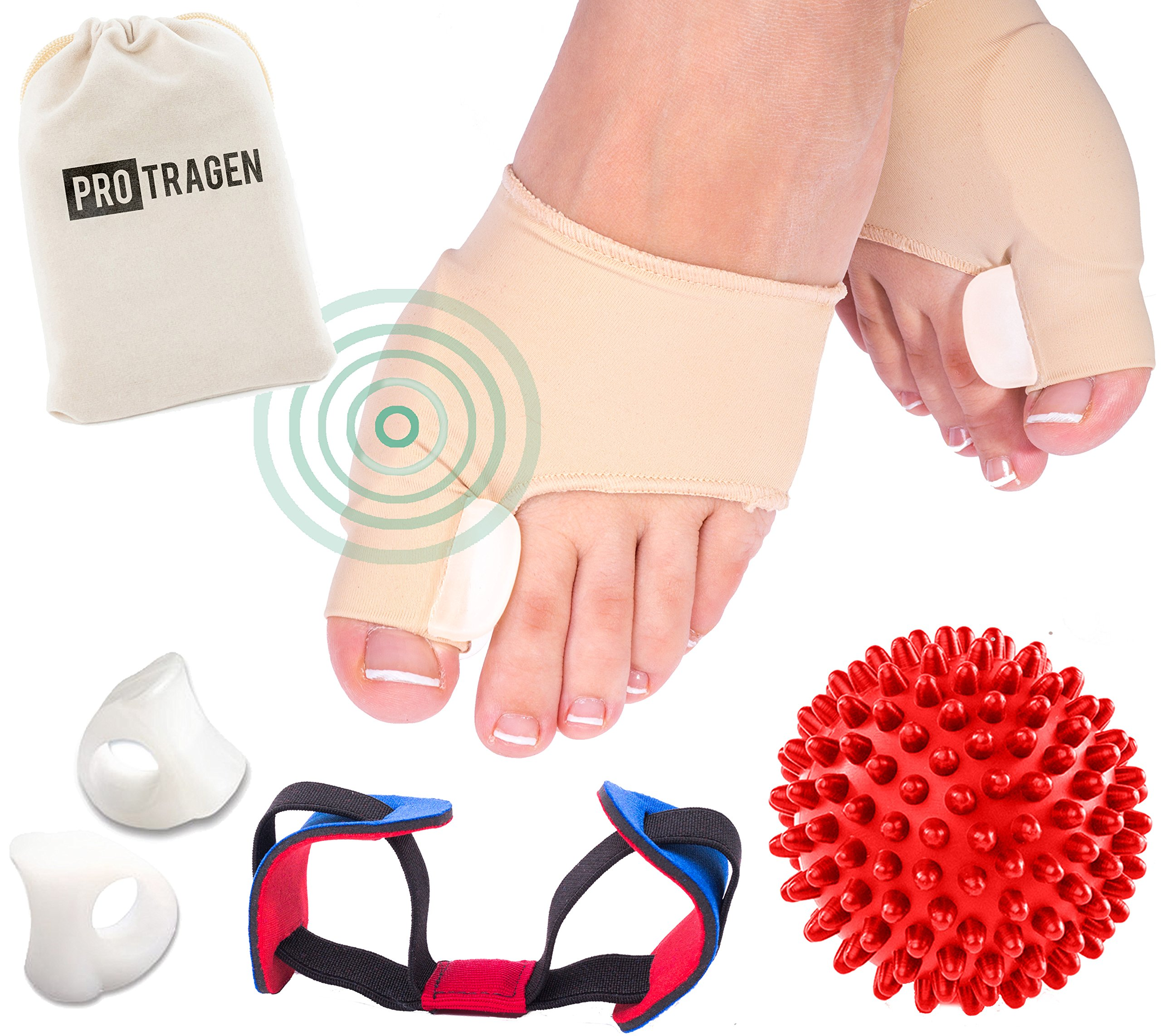 Bunion Correctors and Foot Massage Ball Set – Flexible Bunion Split Sleeve for Men and Women with Hypoallergenic Gel Pads – Also Suitable for Hammertoe and Crooked Toes