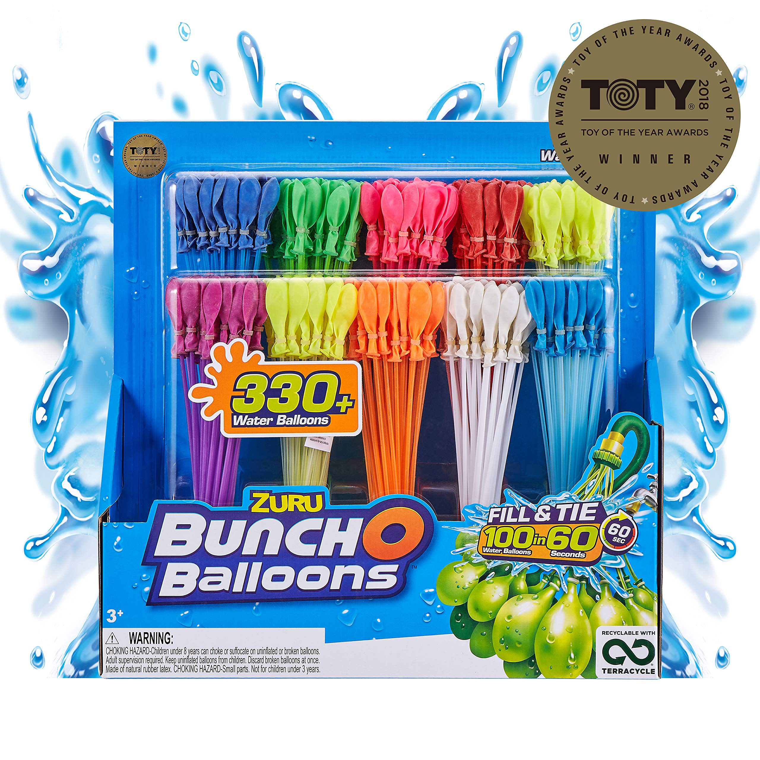 Bunch O Balloons - 350 Rapid-Fill Water Balloons (10 Pack) Amazon Exclusive Multi-Colored